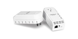 TRENDnet TPL-307E2K 200Mbps Powerline AV Adapter Kit带插孔电力猫