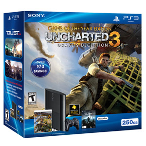 翻新PS3™ 250GB UNCHARTED 3: DRAKE'S DECEPTION GAME OF THE YEAR游戏机