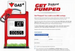 Canadian Tire Get Pumped Promotion加油打折券及免费Trident 14pc口香糖