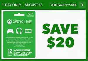 XBox Live 12 month金会员仅限8月18日特价