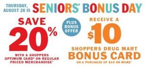 Shoppers Drug Mart本周四(8月28日)Seniors' Day 55岁以上老人购物8折,满50元送10元现金卡