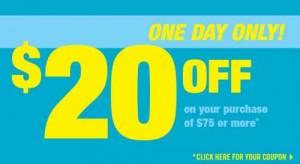 Shoppers Drug Mart本周三(8月6日)凭折扣券购物满75元优惠20元