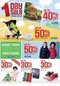 Sears指定户外儿童玩具6折起,婴幼儿产品童装五折起,儿童玩具7折起,仅限今日。