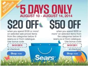 Sears网购促销,满100元优惠20元,满200元优惠50元,大家快寻宝吧!