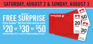 Shoppers Drug Mart本周六周日购物满75元送20-50元Petro加油卡