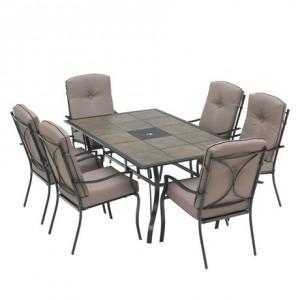 hometrends Sonoma 7-Piece Cushioned Dining Set室外餐桌餐椅7件套