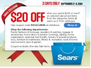 Sears 9月2日-4日指定类别产品满100元优惠20元