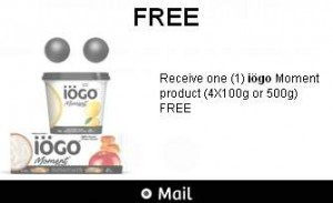 免费购买iögo Moment酸奶4x100g或500g优惠券