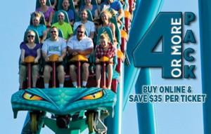 Canada's Wonderland买4张以上门票每张24.99元
