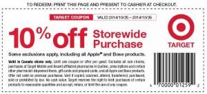 Target 10月25日-26日(本周六日)全场9折优惠券
