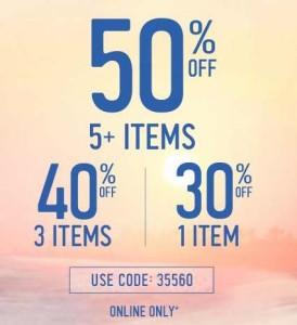 Hollister全场服饰买一7折,买三6折,买5半价!
