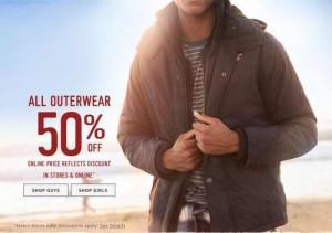 Hollister防寒服全部半价,11月23日截止