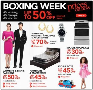 Sears Boxing Week prices on now特卖及Boxing Week特卖传单