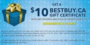 Best Buy及Future Shop网购满100元选择店内取货,送10元电子消费券