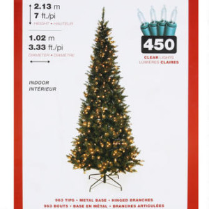 Prelit Pointed White Indoor Christmas Tree - 6.9ft 圣诞树(高2.13米)