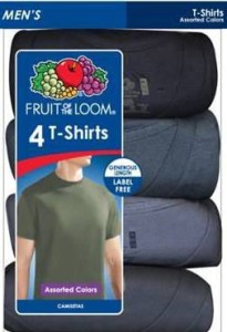 Fruit of the Loom Men's 4pk Assorted T-Shirt全棉男式短袖T恤4件装