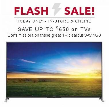Best Buy今日电视机特卖,最多可省650元