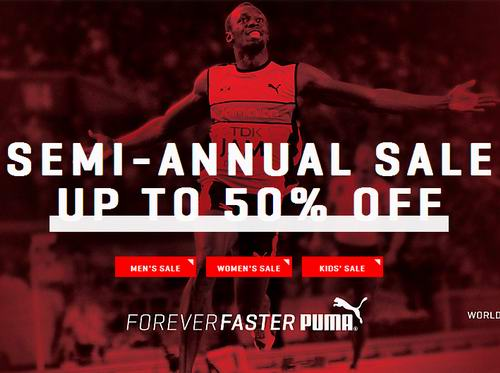 Puma成人儿童运动服饰跑鞋等5折起特卖,满100元优惠20元,全场包邮!