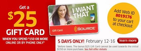 The Source网购满100元优惠20元,满150元再送25元礼品卡