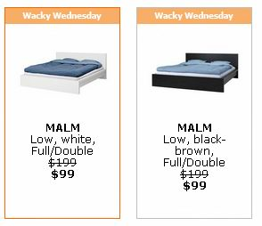 Ikea本周三(3.11)特价信息,Double size床半价99元,50x50cm画框2折4.99元,实木小圆凳2.5折9.99元,被套枕套套装半价14.99元