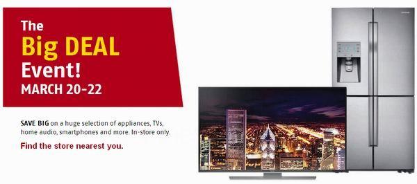 Future Shop 3月20日-22日店内大促销,购买大家电、大屏幕或超清电视、电视柜、耳机、监控系统、智能手环、GPS导航等享受格外折扣