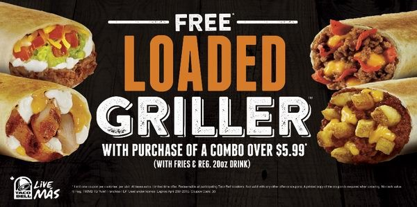 Taco Bell购买5.99元以上套餐免费送Loaded Griller