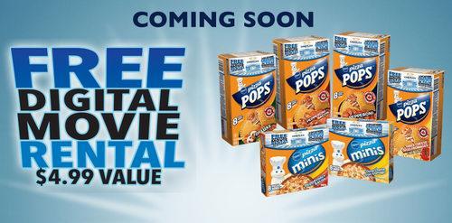 购买新包装Pizza Pops或Pizza Minis可免费在线租赁电影