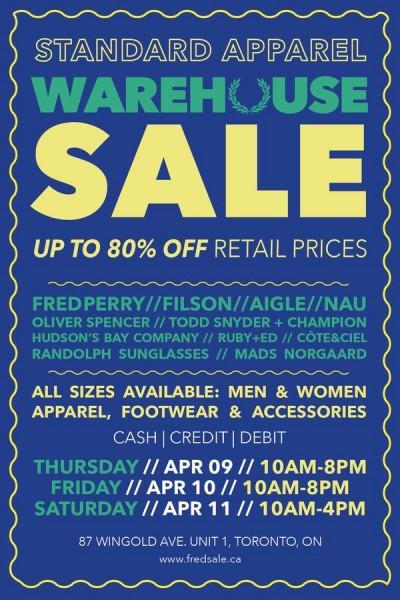 Standard Apparel Warehouse Sale名品仓储特卖会,服装鞋类等2折起,仅限4月9日-11日