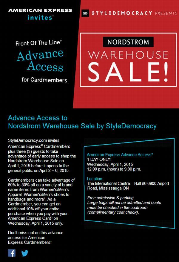 本周三中午12点Nordstrom Warehouse Sale特卖会American Express信用卡加拿大客户专场,凭卡入内,全场2-4折,再打9折