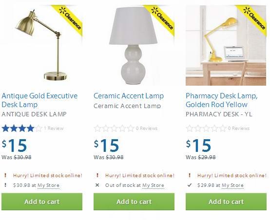 Walmart 3款台灯半价15元清仓
