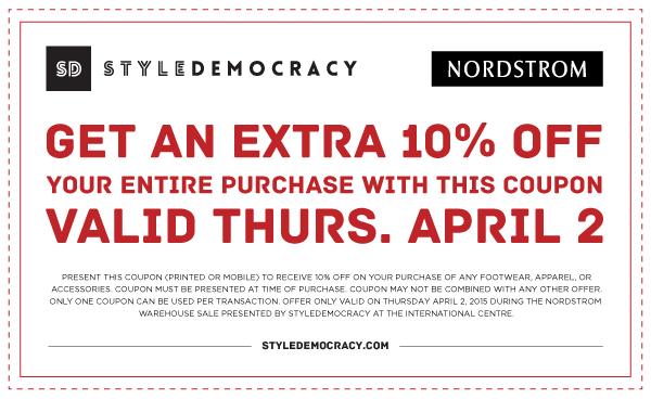 Nordstrom Warehouse Sale特卖会9折优惠券,仅4月2日有效!没车的朋友首次使用Uber打的免25元车费