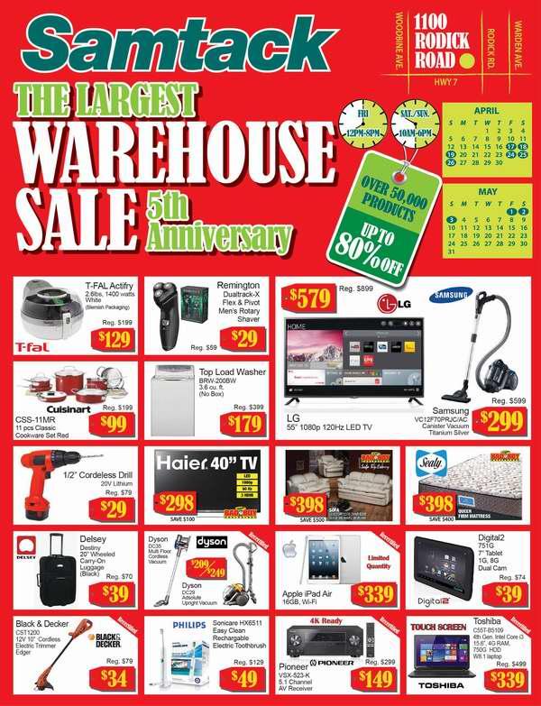 Samtack Warehouse Sale家电家具特卖会,全场2折起,4月17日开卖!