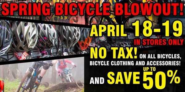 Royal Distributing自行车春季特卖会,上千款自行车及配件服饰等3.5折起特卖并免税,仅限本周六周日