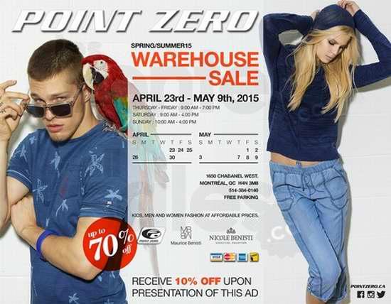 Point Zero warehouse sale 2015蒙特利尔专场特卖会春夏服饰3折起4月23日开卖,另打9折