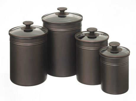 MAINSTAYS Set of 4 Glass Lid Canister - 8 pieces