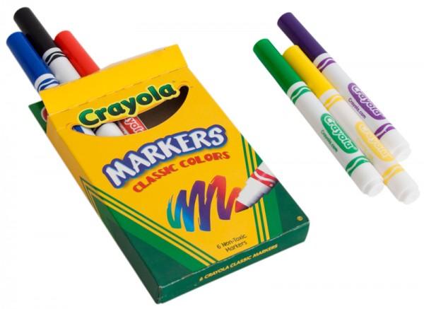 免费6-Pack Crayola Markers儿童马克笔