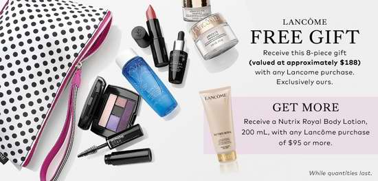 Hudson's Bay网购Lancome化妆品满36元送价值188元8件套化妆品