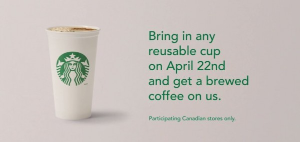 本周三(4月22日)带上任何非一次性杯子到星巴克Starbucks免费喝咖啡