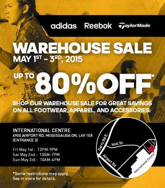 Adidas Reebok Taylormade Warehouse Sale特卖会,鞋子服饰2折起!本周五中午12点开卖!