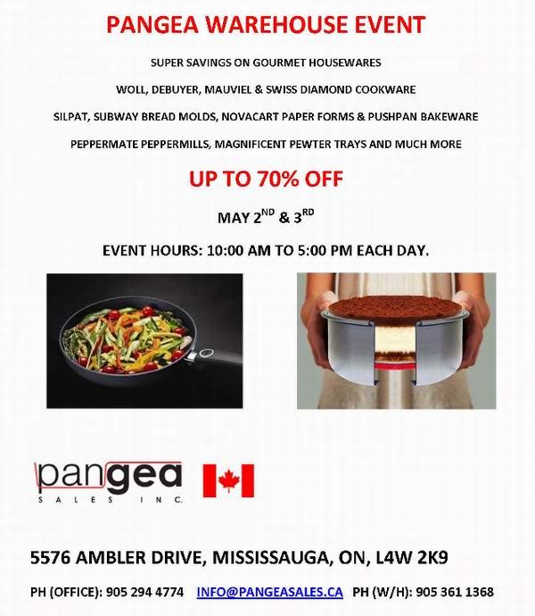 Pangea Sales 专业厨房用品特卖会,全场3折起,仅限本周六周日!