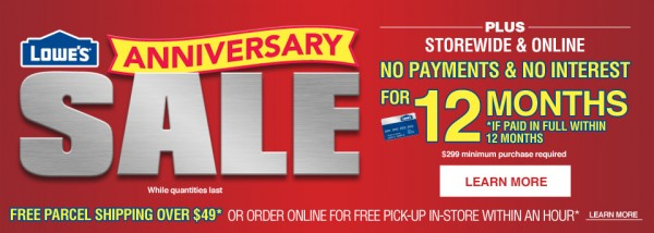 Lowe's周年庆指定产品半价起特卖,新用户满50元另再优惠10元