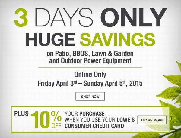 Lowe's庭院家具、BBQ烧烤炉、割草机、户外电动工具、花盆等户外产品2.5折起清仓,满50元再优惠10元,使用Lowe's信用卡再打9折