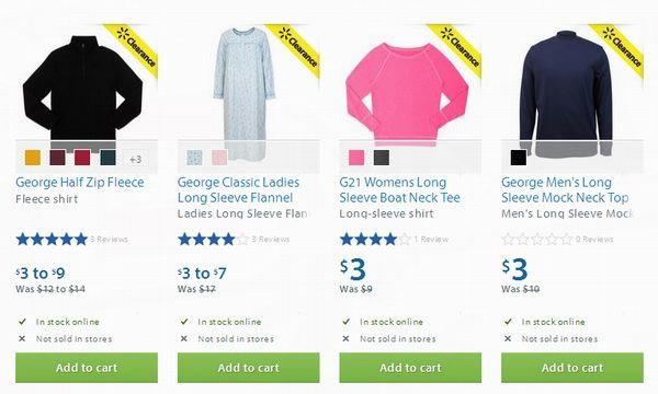 Walmart多款男女服饰睡衣等再降至3元清仓