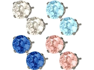 4 pairs of 6mm SWAROVSKI Elements Genuine Sterling Silver Stud Earrings 925纯银施华洛世奇耳钉
