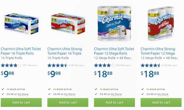 Walmart 4款Charmin卫生纸店内特卖