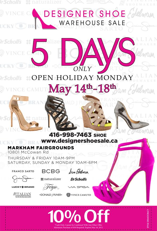 Designer Shoe Warehouse Sale特卖会,3万双名牌鞋2折起清仓,额外9折,5月14日-18日