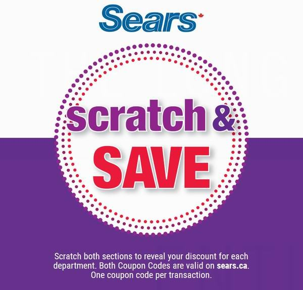 Sears Scratch & Save 最高额外优惠25%或50元