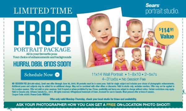 Sears Portrait Studio免费赠送价值114.91元照片冲印套餐及94.98元帆布照片