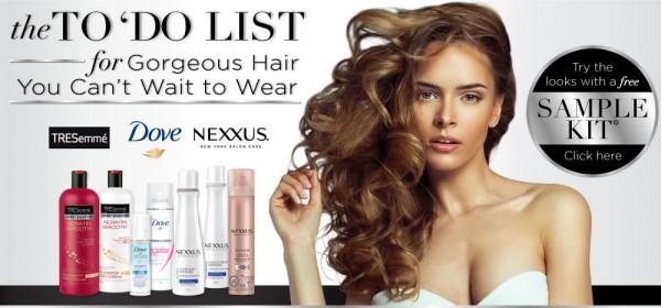 免费TRESemme、Nexxus、Dove洗发护发及发胶试用品套装