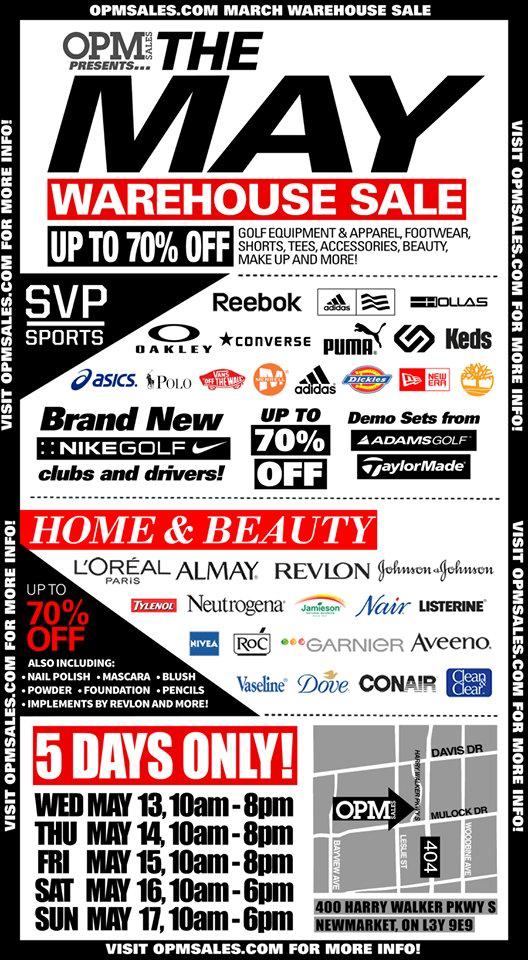 OPM Warehouse Sale特卖会,多个名牌服饰鞋子化妆品高尔夫器材等3折起特卖,仅限5月13日-17日